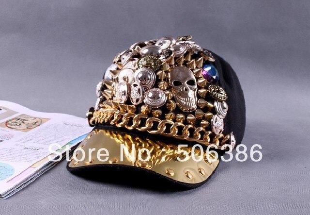 Free shipping Fashion Punk rock Hip-hop Spikes Rivets Studded Button Skull Adjustable Cap Hat,Bigbang personality jazz hat