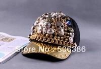 Gratis verzending Fashion Punk rock Hiphop Spikes Klinknagels Studded Button Skull Verstelbare Cap Hoed, Bigbang persoonlijkheid jazz hoed