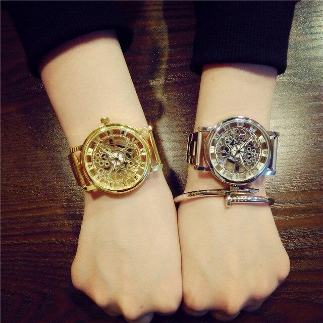 Новые Марка Роскошные Мода Повседневная Нержавеющей Стали Мужчины Скелет Часы Женщины Одеваются Наручные Часы Стали Кварцевые Полые Часы Мужчины