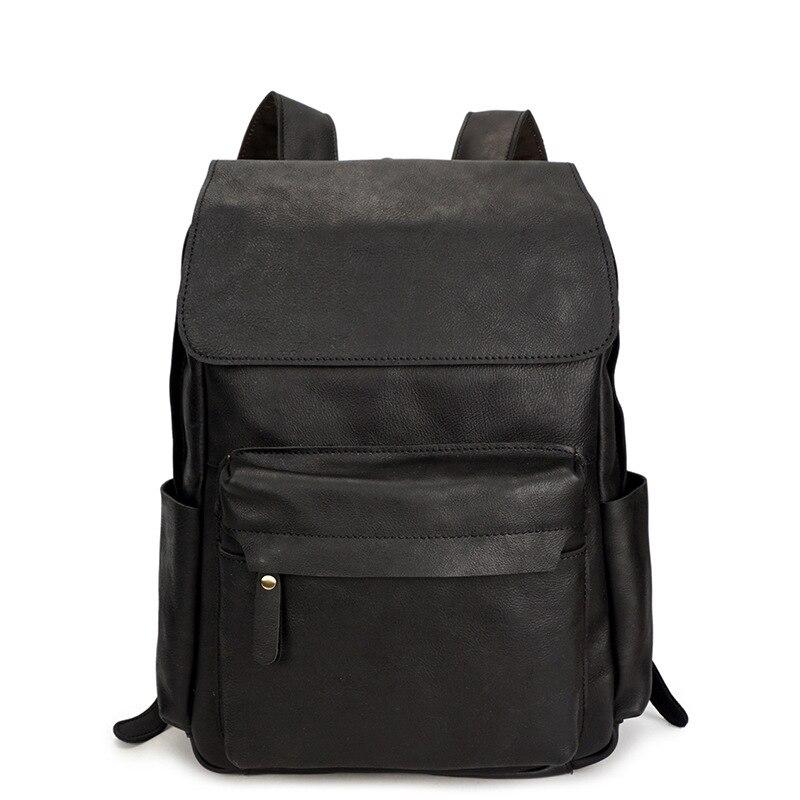Echtes Laptop Wachs Für Taschen Leder Schultaschen Mädchen Fashion Rindsleder Männer Frauen Rucksack Öl Reißverschluss BwdBSxOqn