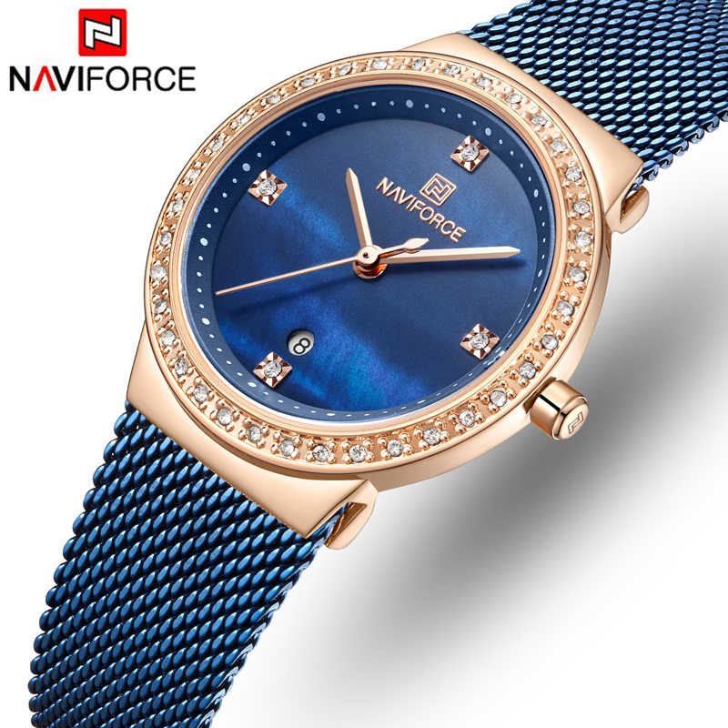 Naviforce mulheres relógios de quartzo moda feminina luxo rosa ouro azul relógio senhoras simples malha aço inoxidável correia relógios de pulso
