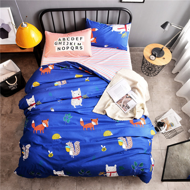 Animal Bedding Set Fox Squirrel Bear Comfortable Duvet Cover Navy Blue Quilt Red Stripe