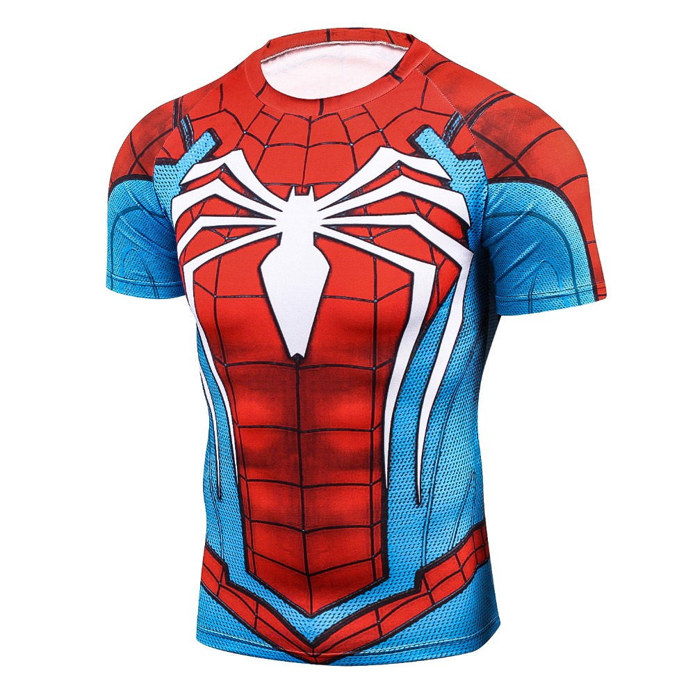New Men Youth 3D T-Shirt Marvel Superhero Spiderman Ironman T Shirt Man Fitness tee Compression Shirt High elastic Tights