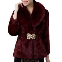 2019 Women Winter Rabbit Fur Coat Women Luxury Artificial Fox Fut Collar Slim Long Faux Fur Coat Faux Fur Coat