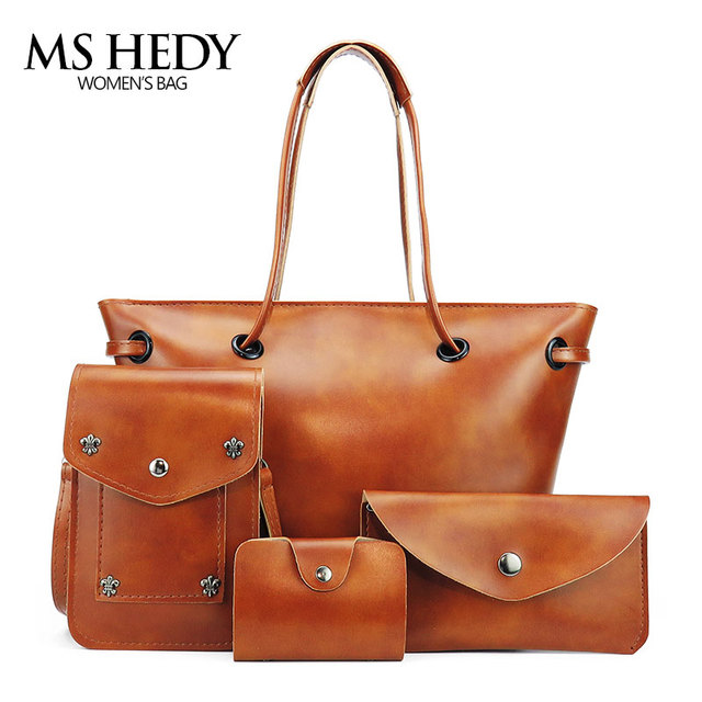 women artificial leather set handbags shoulder bag female top-handle  crossbody bags set woman totes