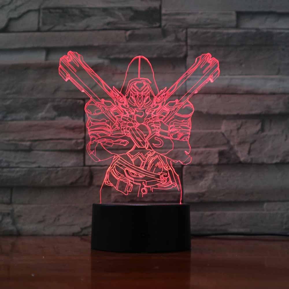 Creative 3D Star Wars Warrior Night Lights 7 Colors Changing Acrylic LED Game Table Lamp USB Bedroom Sleep Lighting Gifts Decor
