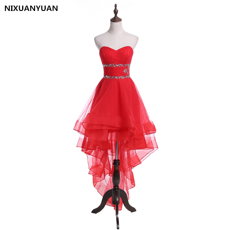 NIXUANYUAN Elegant Strapless Crystal   Prom     Dresses   2019 High Back Low Front Applique Ball Gown Formal Evening Red Carpet Gowns