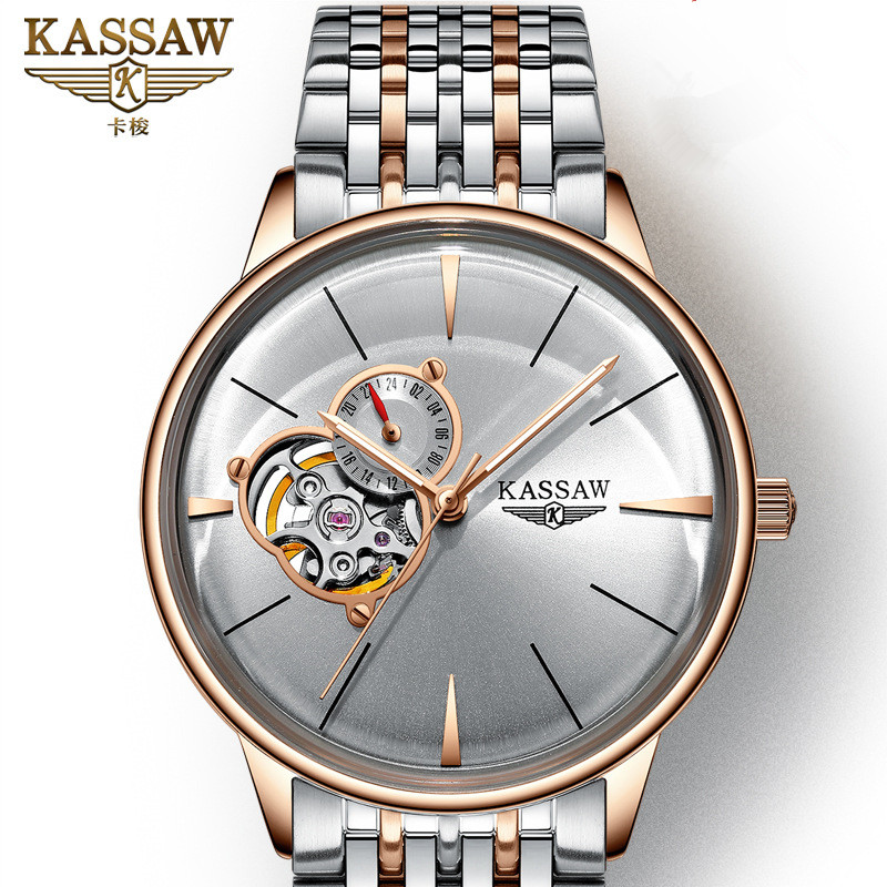 KASSAW Top Brand Luxury Watch Mens Fashion Automatic Mechanical Watch Hollow Curved Belt Flywheel Waterproof Mens WatchKASSAW Top Brand Luxury Watch Mens Fashion Automatic Mechanical Watch Hollow Curved Belt Flywheel Waterproof Mens Watch