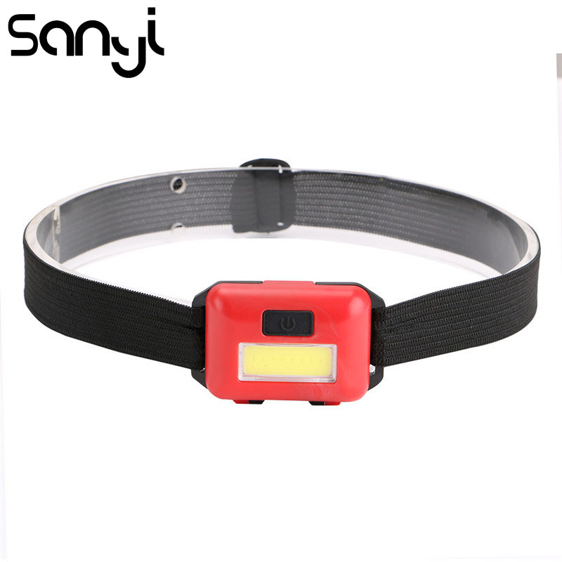 SANYI 2000LM Mini COB LED Headlight 3 * AAA Batteries Headlamp For Camiping Hunting 3 Modes Flashlight Forehead For Outdoor
