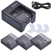 Tectra 3pcs 1400mAh AZ16-1 Battery for Xiaomi Yi 4K II Repalcement Battery+USB Charger for XiaoYi 4K 2 Action Sports Cameras