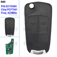 WALKLEE Remote Key Suit For Opel Vauxhall Astra H 2004 2009 Zafira B 2005 2013 For
