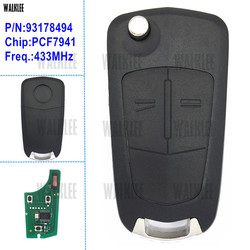 WALKLEE Remote Key suit for Opel/Vauxhall Astra H 2004 - 2009, Zafira B 2005 - 2013, for Valeo 13.149.658 Keyless Entry System
