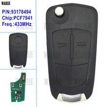 WALKLEE kit de clé télécommande pour Opel/Vauxhall Astra H 2004   2009, Zafira B 2005   2013, pour le système dentrée sans clé Valeo 13.149.658