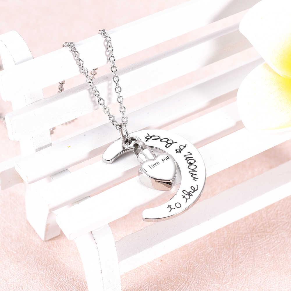 Aku mencintaimu ke bulan dan kembali Ayah Kalung Perhiasan Memorial untuk Abu Guci Kremasi Kenang-kenangan Stainless steel