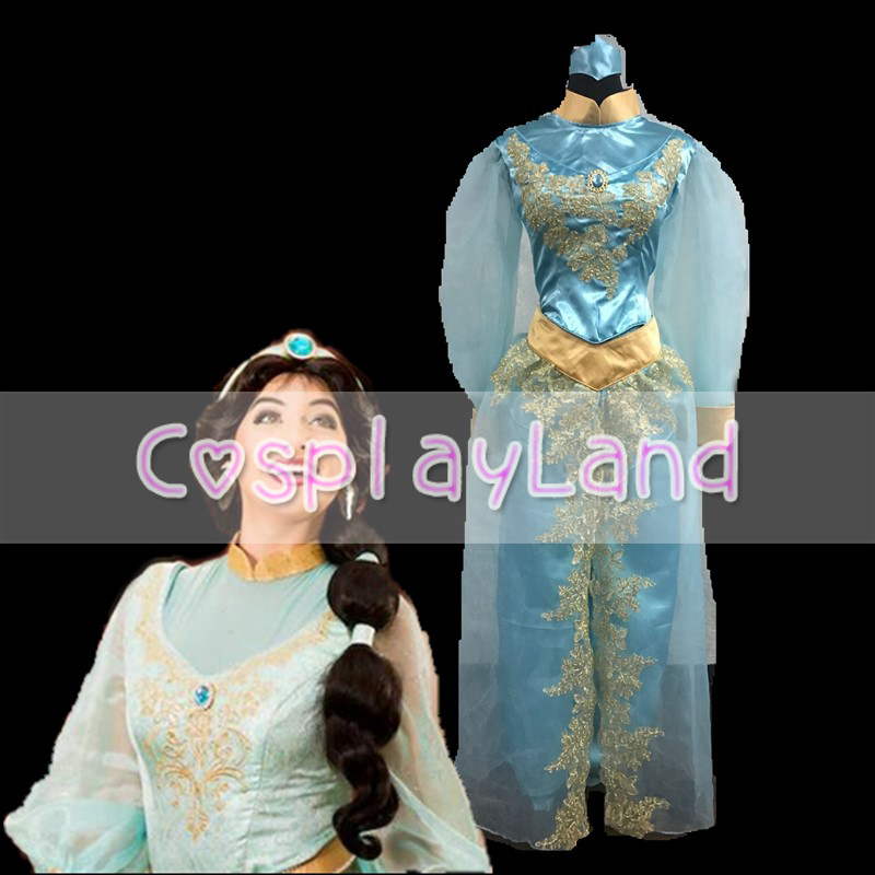 Aladdin and the Magic Lamp Princess Jasmine Costume Movie Cosplay Princess Party Long Sleeves Custom Made Jasmine Dress for Wome