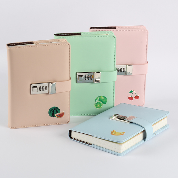 PU Leather A5 Fruit Daily Planner with Lock , Locked Weekly Planner Notebook