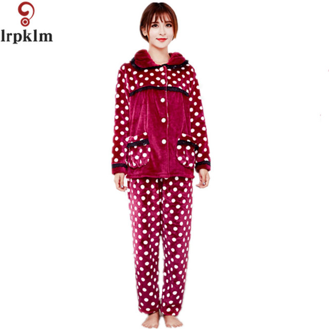 83e978bcfc3 2017 New Coral Fleece Pajamas Women Long Sleeve Thick Warm Winter Pyjamas  Sets pijamas mujer Plus Size Ladies Sleepwear SY433