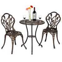 3 piece Outdoor Indoor use Patio Cast Aluminum Bistro Set table with 2 chairs in Antique Copper dining chairs set