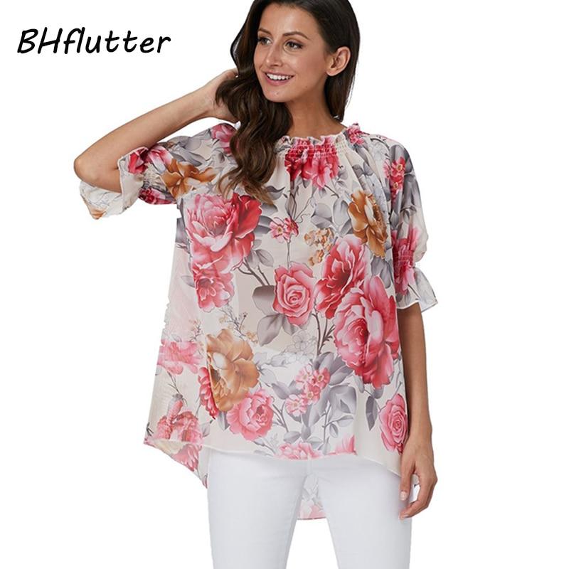BHflutter Summer Blouses Shirts 2019 New Style Floral Print Casual Loose Tunic Tops Ladies Elegant Kimono Boho Chiffon Blouse