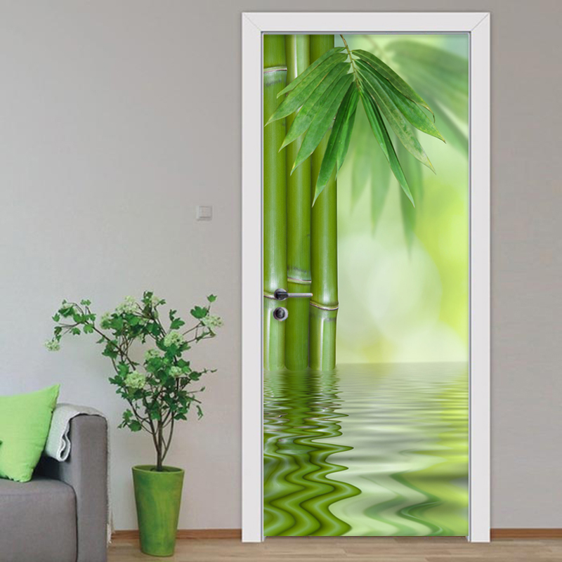 PVC Self-Adhesive Waterproof Door Sticker Modern 3D Green Bamboo Leaf Photo Wallpaper Living Room Home Decor Wall Mural Stickers pentium horse living room bedroom door mural wallpaper sticker pvc self adhesive waterproof wall papers home decor wall painting