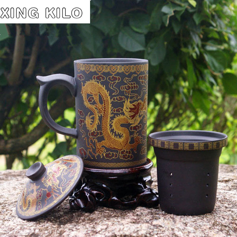 XING KILO Large Teacup, Purple Pu'er Tea Set, Ceramic Cup Cover Filtration Liner, Office Gift Masters Cup