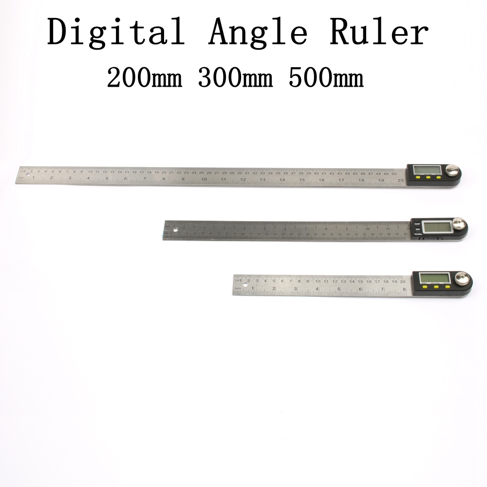 200mm Digital Protractor Inclinometer Goniometer Level Measuring Tool Electronic Angle Gauge Stainless Steel Angle Ruler 12