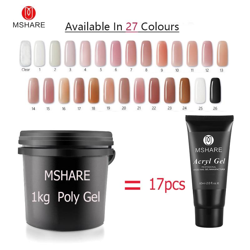 MSHARE 1kg Poly Gel Nails Gel UV Hard Polygel Soak Off Thick LED Camouflage Gel Builder