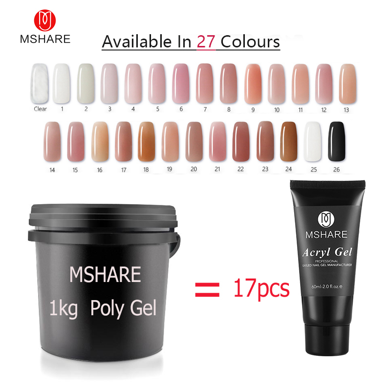 купить MSHARE 1kg Poly Gel Nails Gel UV Hard Polygel Soak Off Thick LED Camouflage Gel Builder Gel Acryl Acrylic Acrylgel онлайн