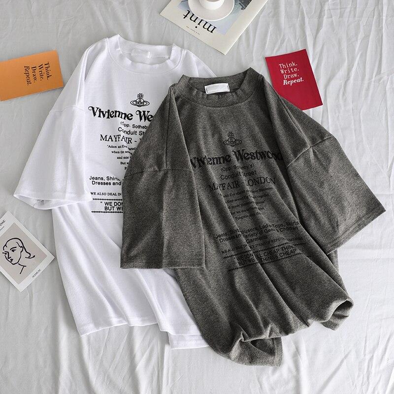 Camisetas Mulheres Harajuku Letra Impressa Simples de Todos Os Jogo Unisex Tshirt Das Mulheres Verão Top Tee Casal Roupas casuais camisa solta t