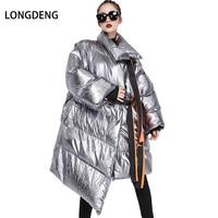 [LONGDENG] New Winter Jacket Women Casual Turn down Collar Belt Long Outerwear Pocket Solid Plus Size Coats Female Thick Parkas