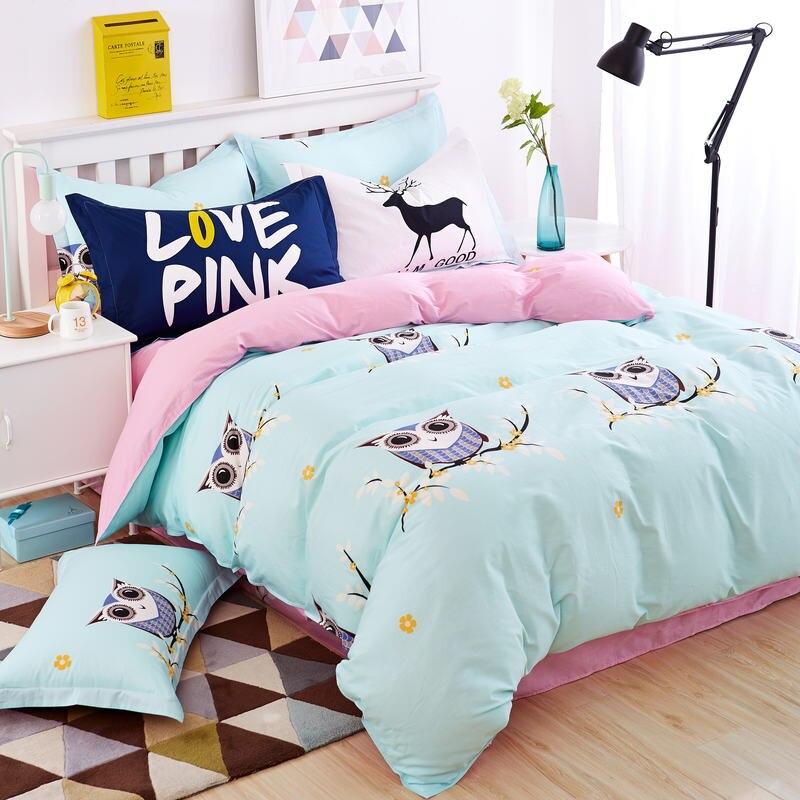 blue owl girlsboys bedding set bright color fish horse music car bed linen kids
