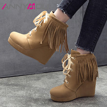 ANNYMOLI Women Winter Ankle Boots Fringe Platform Wedges Heel Short Boots Lace Up Super High Heel Shoes Female Fall Big Size 43