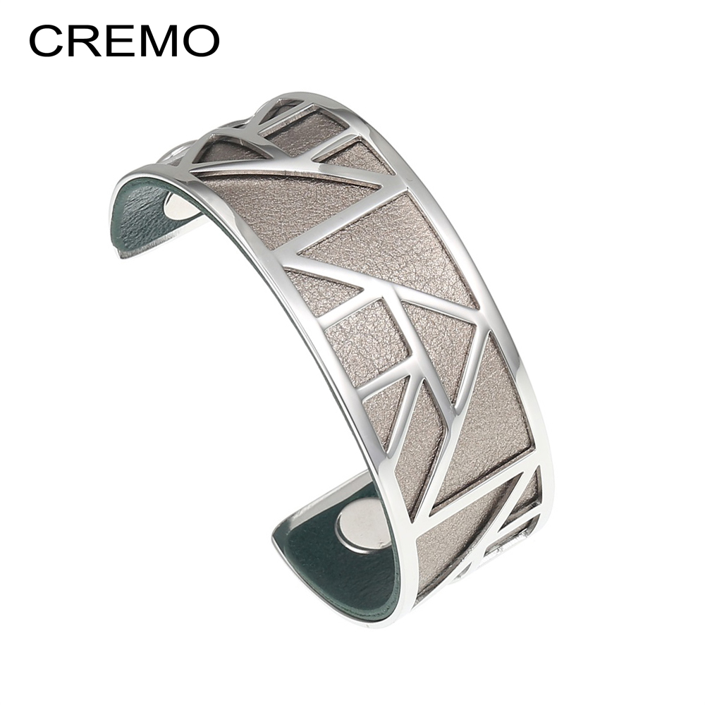 Cremo Pyramid Bracelets & Bangles For Women Argent Femme Stainless Steel Bijoux Geometric Jewelry Interchangeable Leather Bangle