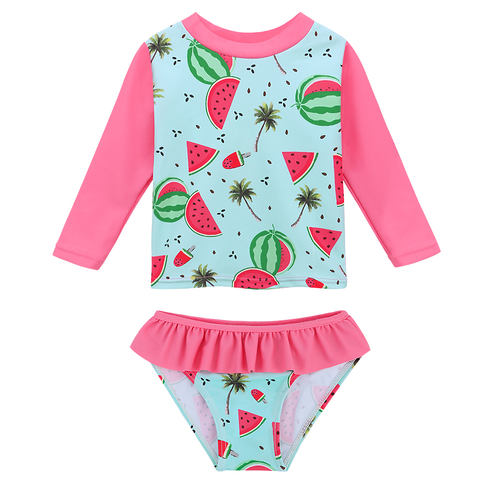 BAOHULU Cartoon Watermelon Baby Swimsuit Girls Two Pieces Floral Children Swimwear Long UV Swimwear Toddler Cute Bathing Suits