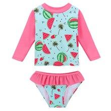 BAOHULU Cute Cartoon Watermelon Baby Swimsuit Girls Two Pieces Floral Children Swimwear Long UV Toddler Swimwear Bathing Suits