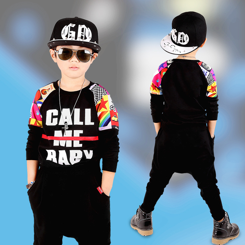 Kids spring Autumn Patchwork set Black Costumes Hip Hop dance Pants & Letter Call Me Baby Sweatshirts kids suits twinset 2016 kids adults spring summer geometric star set black costumes hip hop dance pants