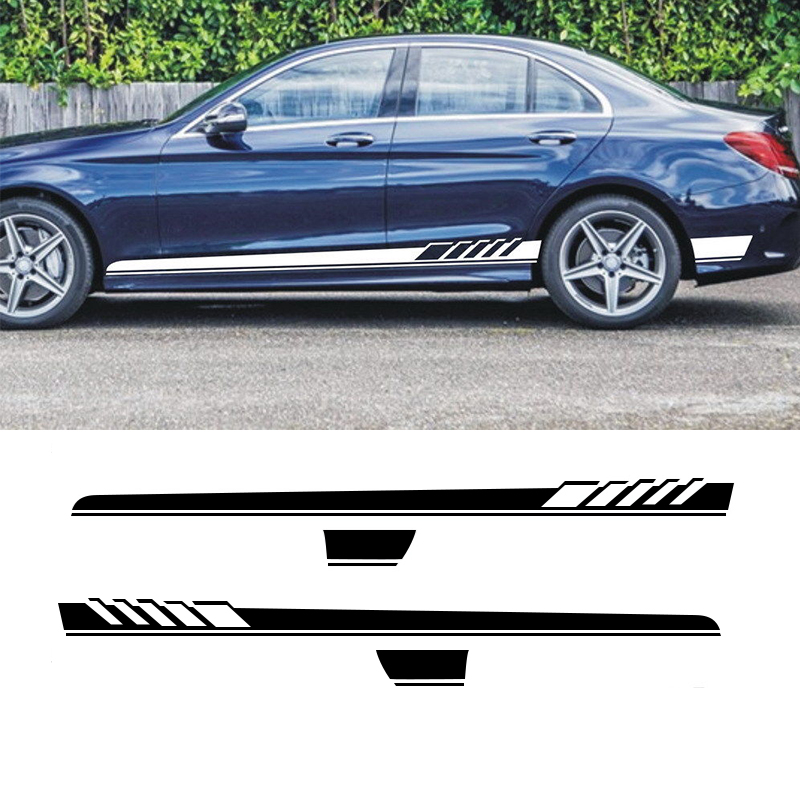 Logical Automobile 2x Car Racing Stripes For Benz C Class Vinyl Lower Door Panel Decals Side Stickers 210x12cm Car Styling Rich And Magnificent Car Stickers