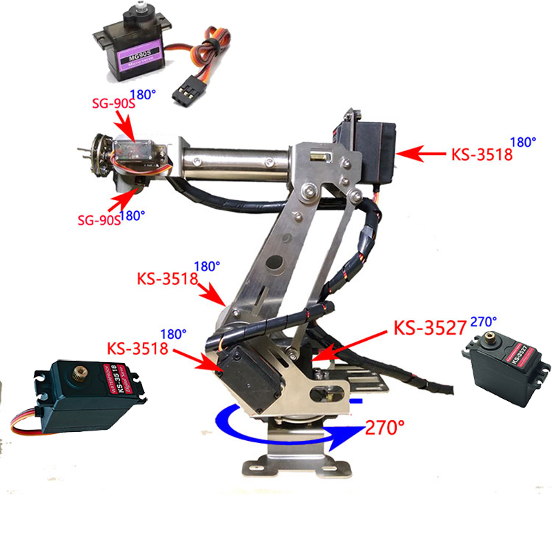 Fully Assembled 6 Axis Mechanical Robotic Arm Clamp for Arduino, Raspberry mor Dhl free shipping in some areas free shipping pure nature raspberry extract raspberry ketones powder 500mg x 100caps