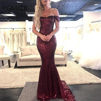 Burgundy Sparkly Sequined Long Evening Dresses 2019 Mermaid Off the Shoulder Women Formal Party Dress Prom Gown Robe De Soiree