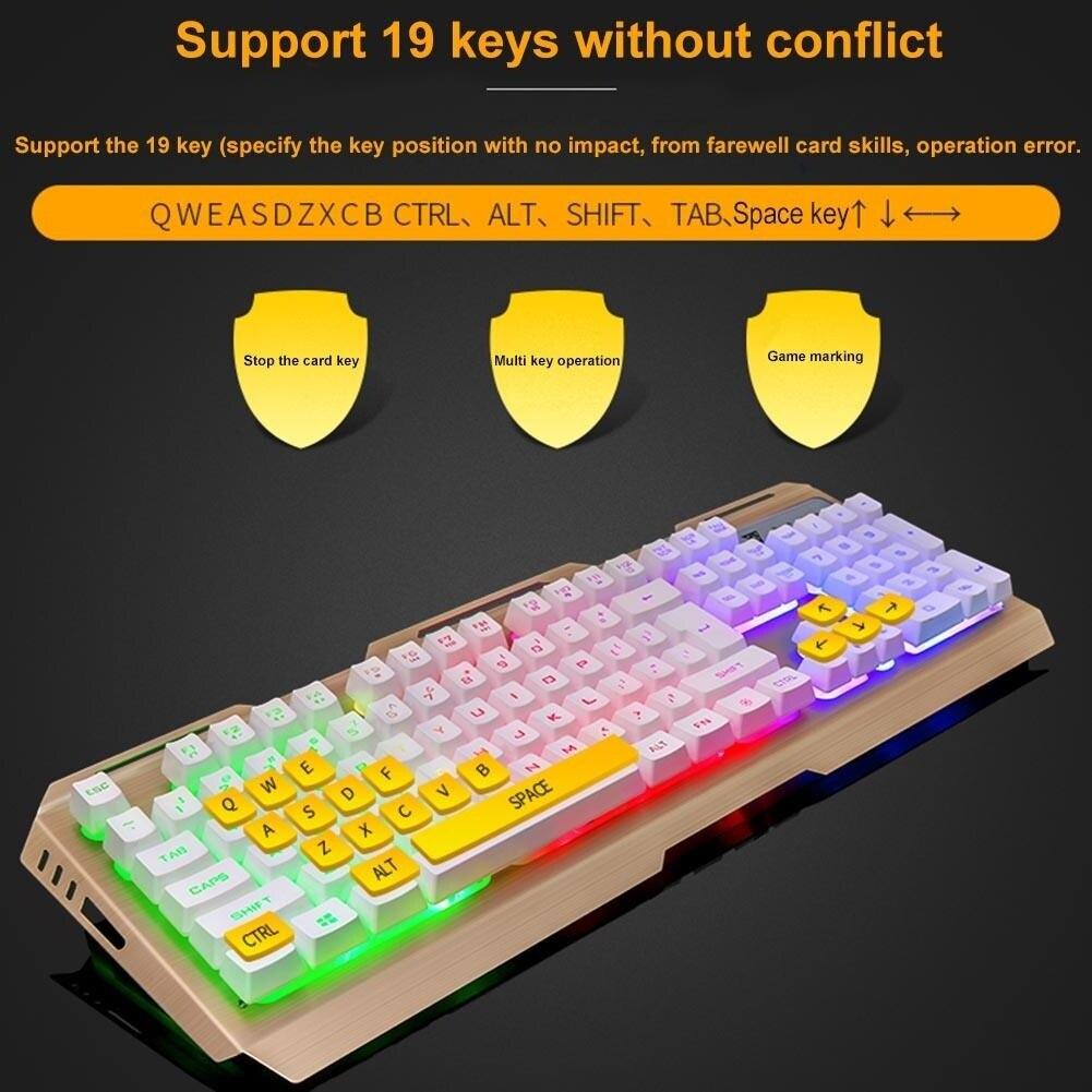 Yoteen V1 USB filaire ergonomique 7 couleurs LED rétro-éclairé mécanique sensation clavier de jeu et 4 DPI ensemble de souris réglable