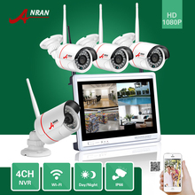 "ANRAN P2P 4pcs Cameras 4CH 1080P 12""LCD Monitor WIFI NVR 24IR Waterproof Mini Wi-fi IP Surveillance CCTV Safety System"