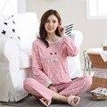 2017 Más El Tamaño 2XL pijamas set 100% algodón pijamas pijamas primavera y otoño mujer de manga larga de dormir amante de trajes de noche