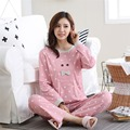 2017 Plus Size 2XL pajamas set 100% cotton pajamas pajamas spring and autumn women long sleeve sleepwear lover night suits