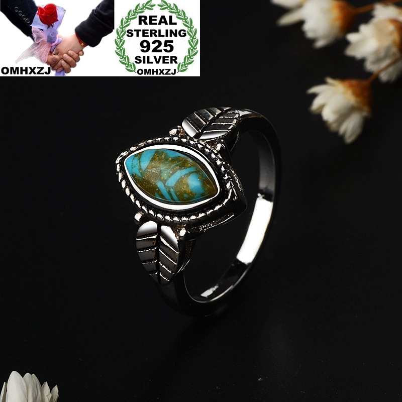 OMHXZJ Wholesale European Fashion Woman Girl Party Birthday Wedding Gift Vintage Leaf Turquoise 925 Stering Silver Ring RR1035