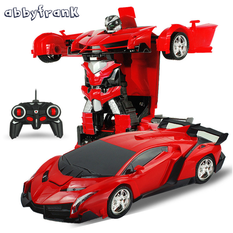 Abbyfrank RC Car Sports Car Models Transformation Robots Remote Control Deformation Car RC Robots Kids Toys Birthday Gifts цены