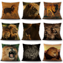 New Lion and forest Art Cotton Linen Throw Pillow Case king Series Decorative Pillows For Sofa Car Seat Cushion Cover Cojin