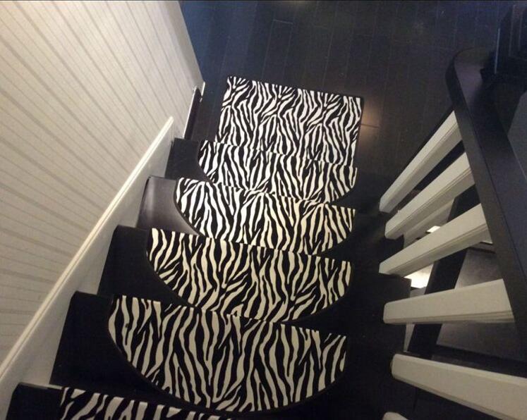 5Pcs Zebra Carpet For Stair Non Slip Floor Staircase Carpets   Zebra Print Stair Carpet   Staircase Remodel   Ideas   Stair Treads   Leopard Print   Carpet Runner