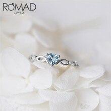 ROMAD серебряные кольца для женщин обручальное кольцо Красный Синий CZ Сердце Любовь День Святого Валентина Свадебная вечеринка подарок подходит леди ювелирные изделия R4
