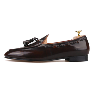 Image 2 - Piergitar 2019 dark brown hand polished calfskin BELGIAN LOAFERS with matching tassels ITALY designs handcrafted mens loafers