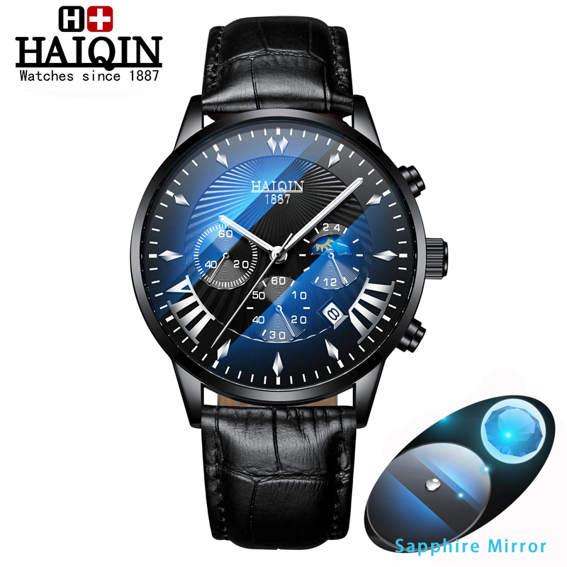 HAIQIN Mens watches top brand luxury sport Mens Watches Quartz wristwatch male Mliltary watch men waterproof Reloj hombres 2019HAIQIN Mens watches top brand luxury sport Mens Watches Quartz wristwatch male Mliltary watch men waterproof Reloj hombres 2019